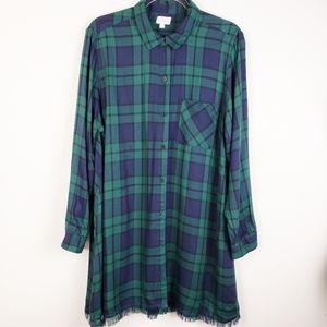 MUD PIE - Blue & Green Plaid Shirt Dress Fringe